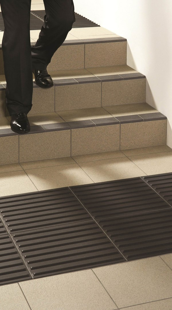 TACTILE CORDUROY ANTHRACITE with GRITSTONE STEEL GREY and STEP TREAD in BLACK