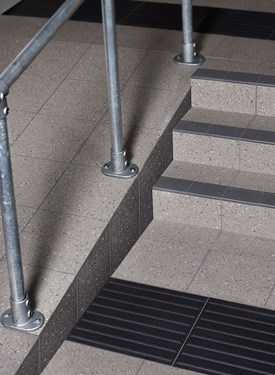 PEBBLED AGGREGATE SPECKLED STEEL GREY and SPECKLED DARK GREY 300mm with STEP TREAD in DARK GREY and TACTILE CORDUROY in ANTHRACITE 400mm